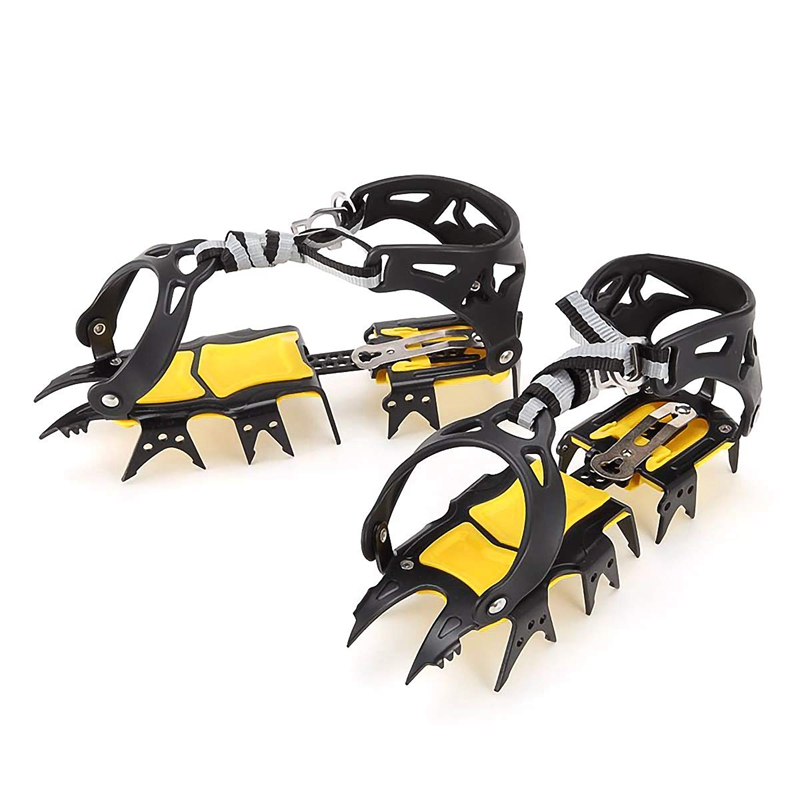 18 Teeth Crampons Traction Cleats Spikes Snow Grips,Anti-Slip Stainless Steel Crampons For Mountaineering & Ice Climbing