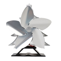 Christmas Tree Themed Heat Powered Stove Fan for Log Wood Burners 5 Blades Heater Stove Fan Silver|Exhaust Fans| |  -