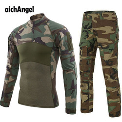 Tactical Uniforms Men Rip-stop Camouflage Military Uniform Clothing Sets Airsoft Paintball Combat Security Suits Hunt Clothes