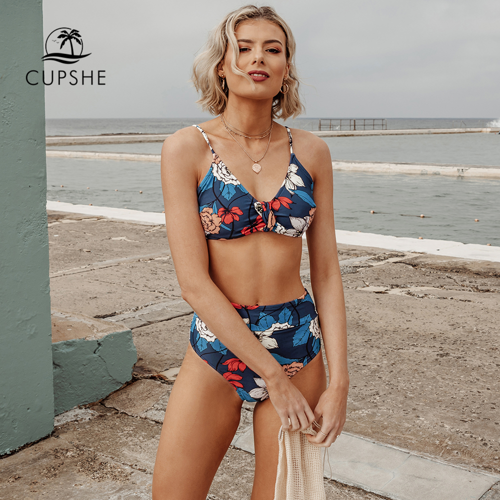 CUPSHE Dark Blue Floral Print High-Waisted Bikini Sets Sexy Swimsuit Two Pieces Swimwear Women 2020 Beach Bathing Suit Biquinis