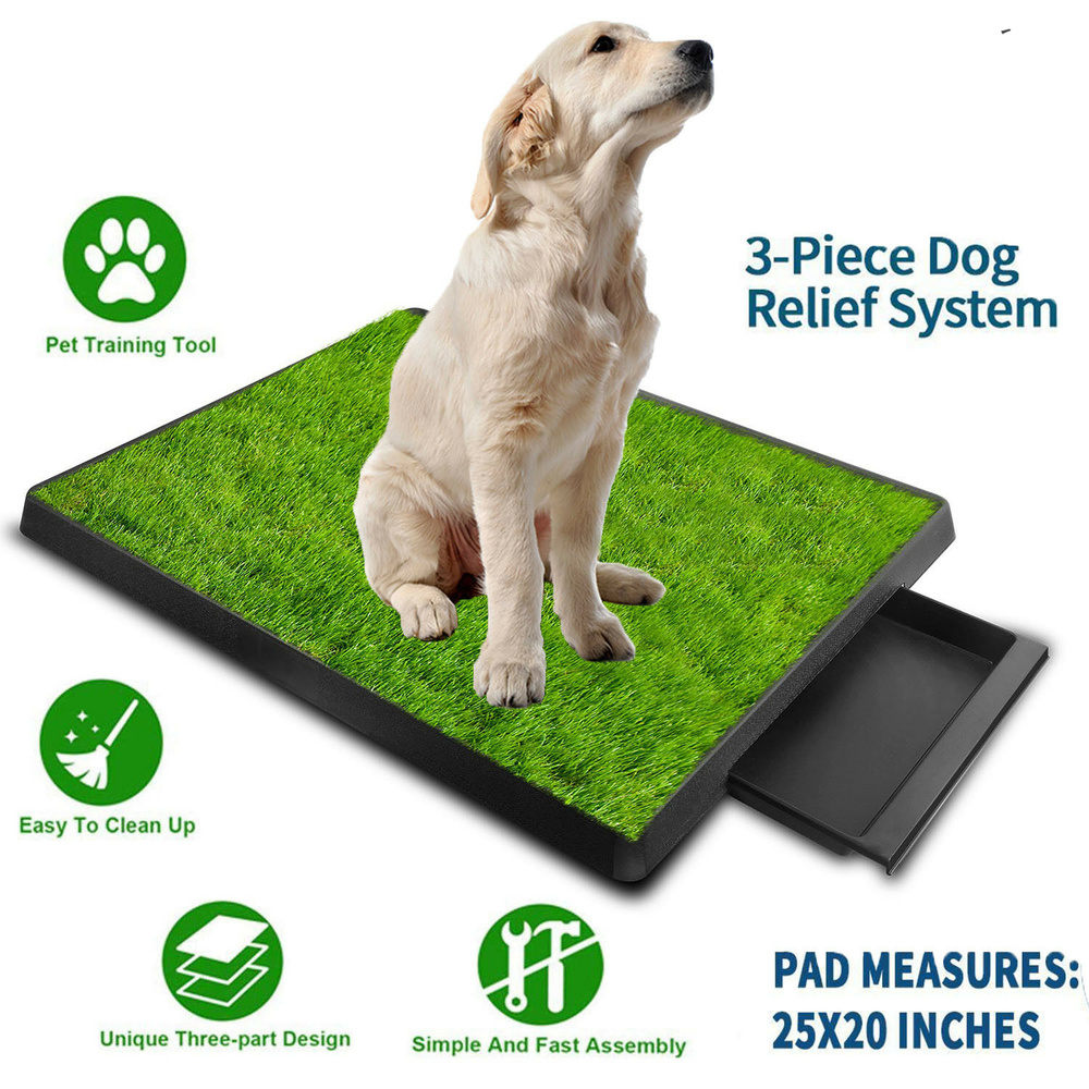 Pet Toilet Litter Box Pad Potty  3 Layer Training Synthetic Grass Mesh Tray For Dogs Indoor Outdoor Use