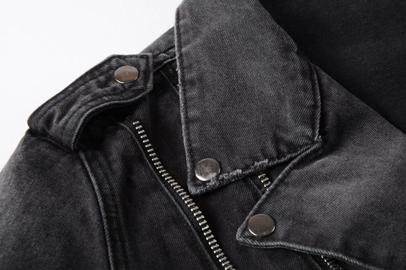 H938ef35195d744488ee3c901b477d5b6J Uplzcoo New Fashion Biker Denim Jackets Men Black Hole Zippers Denim Coat Jackets Casual Men Clothing Casaco Masculino EM157