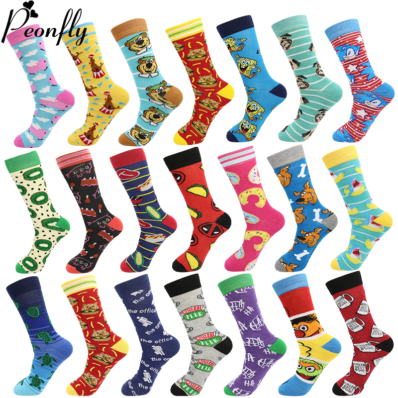 PEONFLY Funny Cartoon Cat Dog Animal Printed Happy Socks Men Fashion 2020 Spring Novelty Food Men Comfort Breathable Cotton Sock