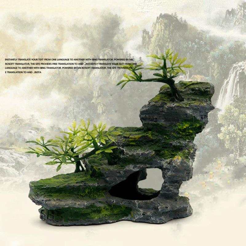 Simulation Rockery Aquarium Decoration Accessories Fish Tank Landscaping Decorative Resin Rocks Decor Aquascape Landscape