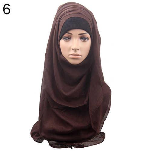 Wanita \ 'S Kapas Nyaman Muslim Islam Ramadhan Hijab Panjang Syal Selendang Syal Hiasan Kepala High-End Kapas Disisir, dalam Warna Solid