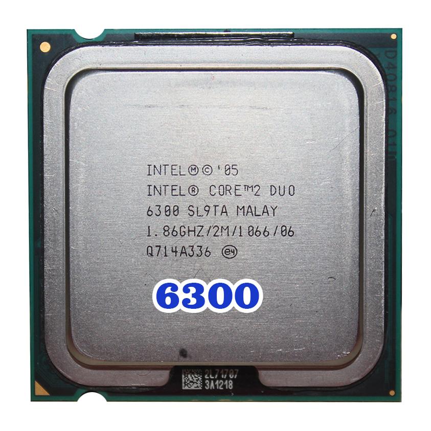 Original INTEL  Core 2 Duo E6300 CPU Processor (1.86Ghz/ 2M /1066GHz) 65W Socket 775