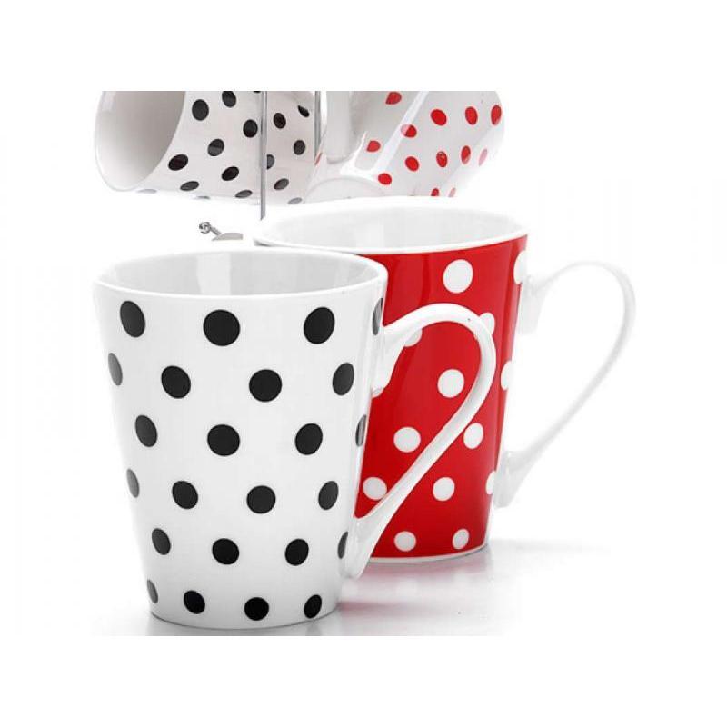 Set mugs LORAINE, 7 items, polka dot