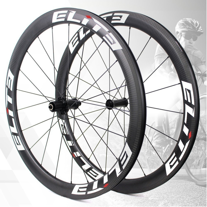 Elite UCI Quality Road Bike Carbon Wheels 700c 3k Twill Carbon Rim Tubeless Ready Sapim Secure Lock Nipple Road Cycling Wheelset