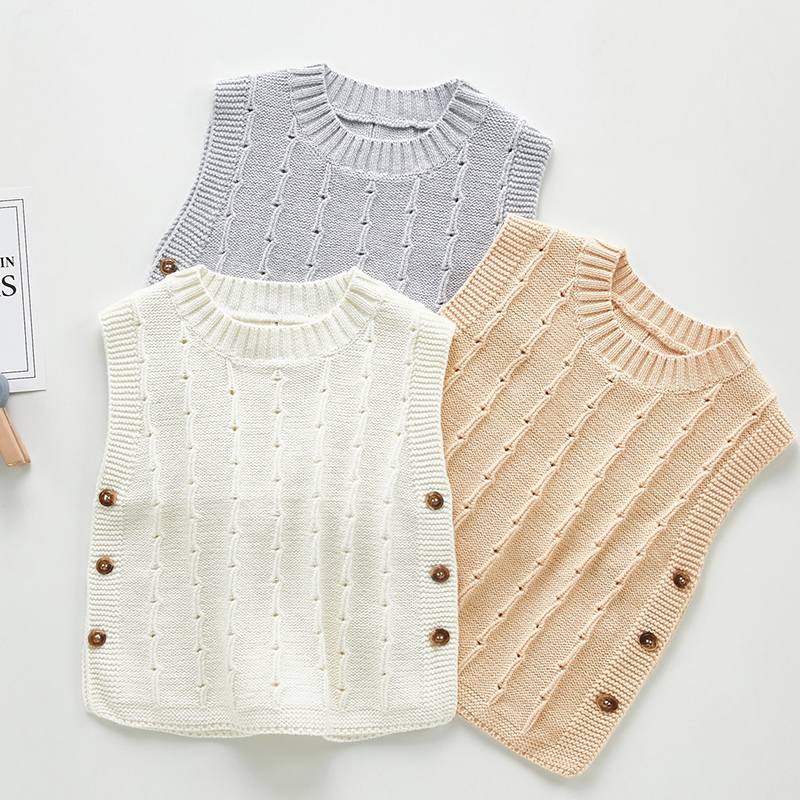 Autumn Newborn Baby Boys Girls Cotton Knitted Sleeveless Vest Cute Solid Sweater Knitted Vest Coat Korean Japan Style 1