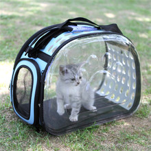 Portable Folding Dog Cat Transparent Handbag Carrier Breathable Pet Shoulder Bag Space Capsule Travel Carrying