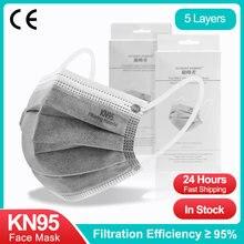 20-100 pces kn95 certificou máscaras 5 camadas ce ffp2 máscara facial descartável filtro de carvão ativado kn 95 mascarillas fpp2 ffp2mask