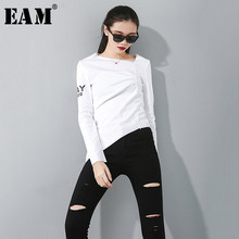 [EAM] Women Print Pleated Slim Irregular T-shirt New Round Neck Long Sleeve Fashion Tide All-match Spring Autumn 2019 1D078(China)
