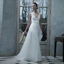 Einfache V ausschnitt Hochzeit Kleider 2020 Vintage Spitze Applique EINE Linie Weicher Tüll Brautkleid Brautkleid Sexy Backless Land Braut kleid
