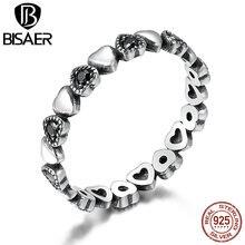 WOSTU gorąca sprzedaż 925 srebro wieczna miłość serce, czarny CZ wieżowych pierścienie dla kobiet w porządku marka biżuteria prezent CQR140