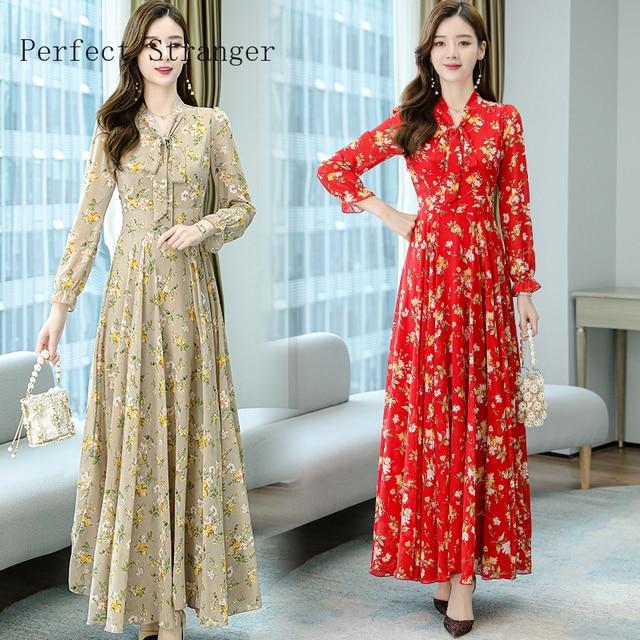 2020 Autumn  New Arrival High Quality Plus Size S-4XL Bow Collar Flower Printed Long Sleeve Women Long Chiffon Dress 3