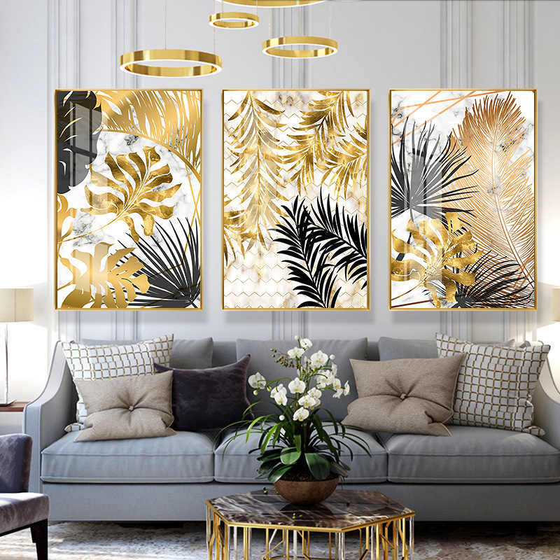 Fashion Nordic Plants Golden Leaf Canvas Painting Posters And Print Wall Art Pictures For Living Room Bedroom Dinning Room Decor