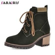 SARAIRIS New Dropship Large Size 34-43 Winter Snow Boots Women Non-Slip Warm Plush Platform Booties Med Chunky Heels Shoes Woman