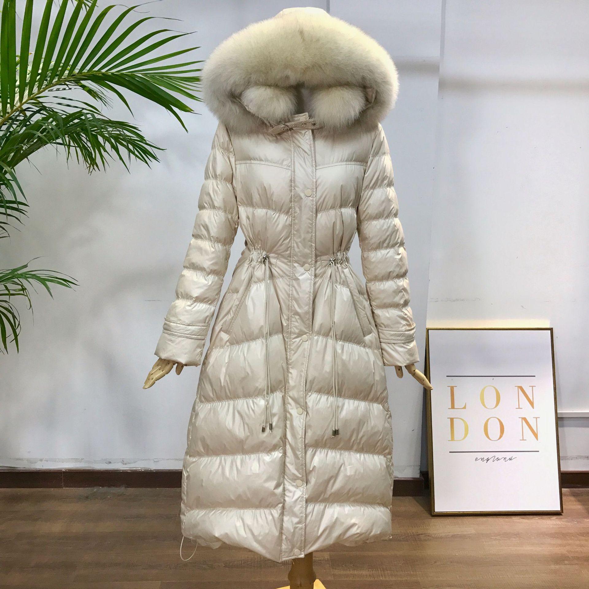 Johnature, новинка 2019, зимние плотные Длинные теплые пальто с меховым воротником, тонкие, 4 цвета, на молнии, белый утиный пух, модные женские парк
