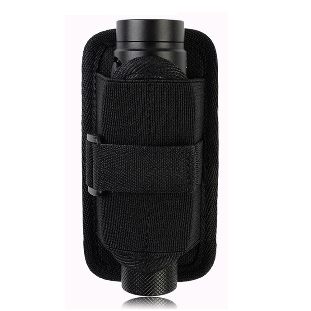 Tactical Flashlight Holster Stretchy Torch Pouch Utility Pouch With 360 Degrees Rotatable Belt Clip Durable Hunting Belt Carrier