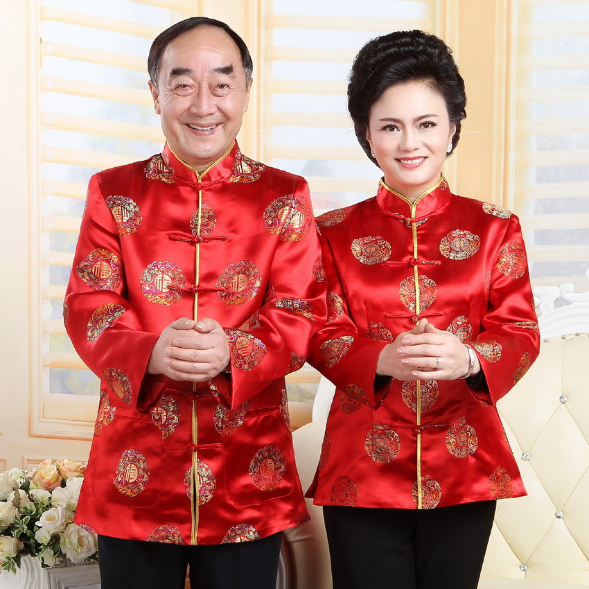 Chinese-style Fall And Winter Clothes Middle Aged And Elderly People Couples Chinese Costume Men Long Sleeve Birthday Over The L