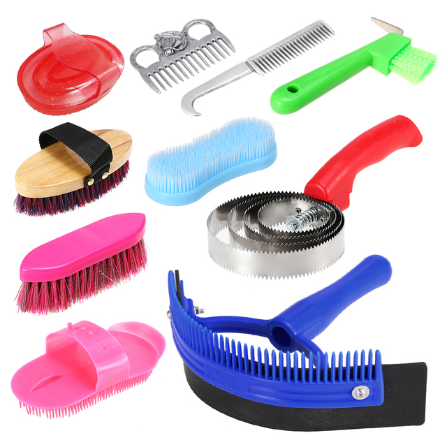 Plastic Curry Comb Adjustable Strap Horse Pony Care Grooming Scraper Brush Cleff