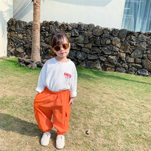 Girls' letter cotton T-shirt loose girls' middle and small children's Korean version girls' spring and autumn long sleeve top girls cartoon and letter print top