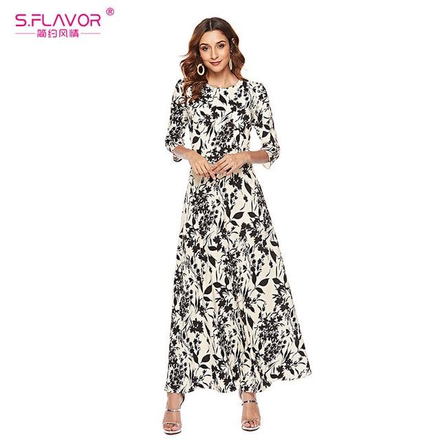 S.FLAVOR Women Slim Long Dress Autumn Winter Plus Size 3/4 Sleeve O Neck Floral Print Boho Maxi Dress Elegant Party Vestido