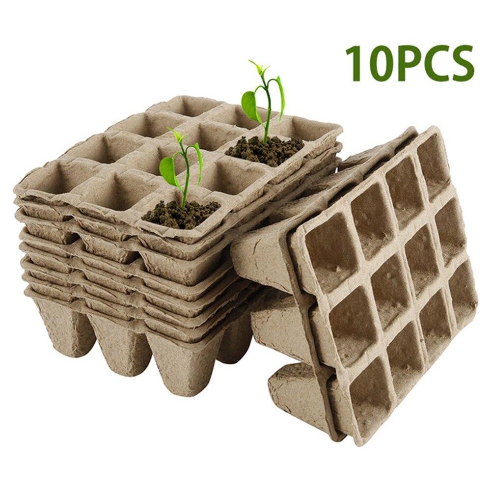 10 pçs venda quente semente crescente bandeja biodegradável pote de papel planta plântula erva semente berçário copo kit fontes do jardim