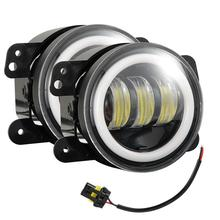4 Inches 30 Watts 6000K Round LED Fog Lamp Black Aluminum 1200LM LED Angel Eye Fog Lights For Jeep Wrangler JK