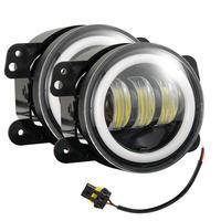 4 Inches 30 Watts 6000K Round LED Fog Lamp Black Aluminum 1200LM LED Angel Eye Fog Lights For Jeep Wrangler JK