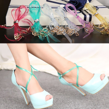 1 Pair Fashion Design High Quality Charm Women Convenient Silicone Detachable Shoes Belt Ankle Shoe Tie Lady Strap Lace Band charm women creative design convenient leather shoes belt ankle shoe tie lady strap lace band for holding loose high heels
