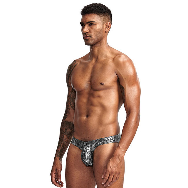 Męskie Sexy jasne skóry węża dzikie niskie talii męskie gejów bielizna mężczyzna majtki Sexy męskie duży Penis pokrowiec bielizna