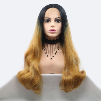 Synthetic Lace Front Wigs Blonde Long Wavy Wigs for Black Women Middle Division Heat Resistant Fibre Cosplay Wig Fake image