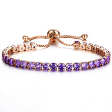 Ladies fashion adjustable purple crystal bracelet gold charm wedding sweet jewelry romantic birthday gift FXM
