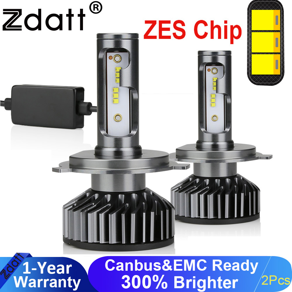 Zdatt H7 LED Headlight H4 H1 Running Lights H11 H8 HB3 9005 9006 H9 Car Light 12000LM 100W 6000K 12V Auto Lamp No Radio Noise