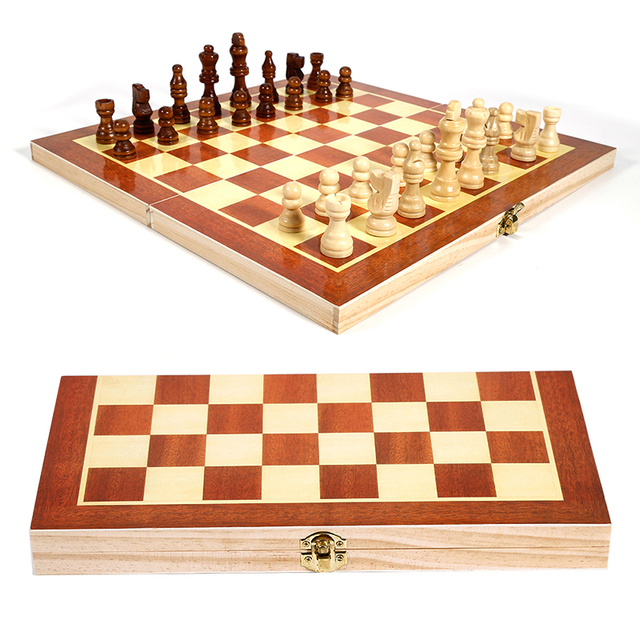 34x34cm Wooden Foldable Folding International Chess Set Board Game For Trip Travel Portable Sports Entertainment Accessories