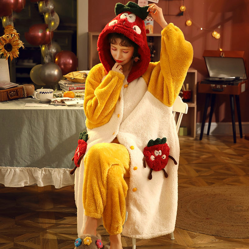 Women Pajamas Autumn and Winter Thick Warm Sleepwear Set Coral Fleece Robe Plus Size Loose Home Clothes Ladies' Nightgowns Set