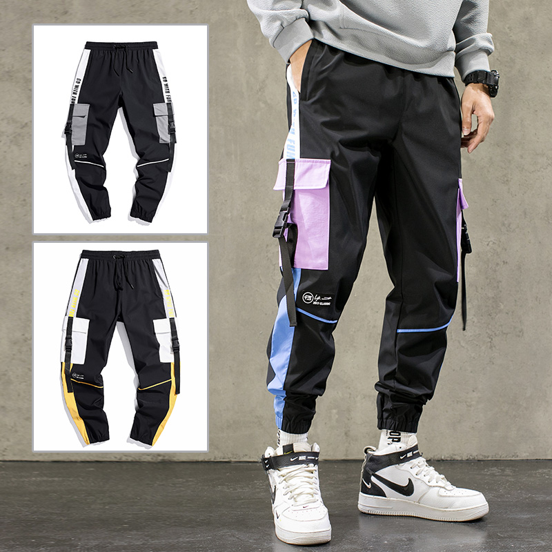Hip Hop Ribbons Cargo Pants Men Joggers Pants Streetwear Men 2020 Fashion Elastic Waist Mens Casual Trousers Sweatpants