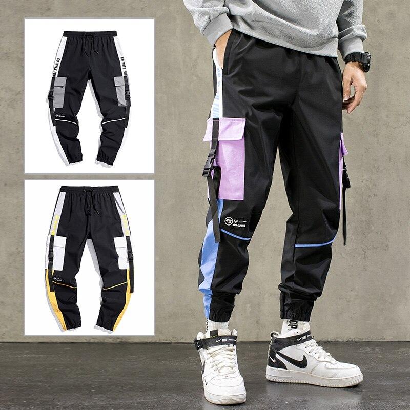 Брюки-карго мужские с лентами в стиле хип-хоп, джоггеры, уличная одежда, модные повседневные спортивные штаны с эластичным поясом, 2021