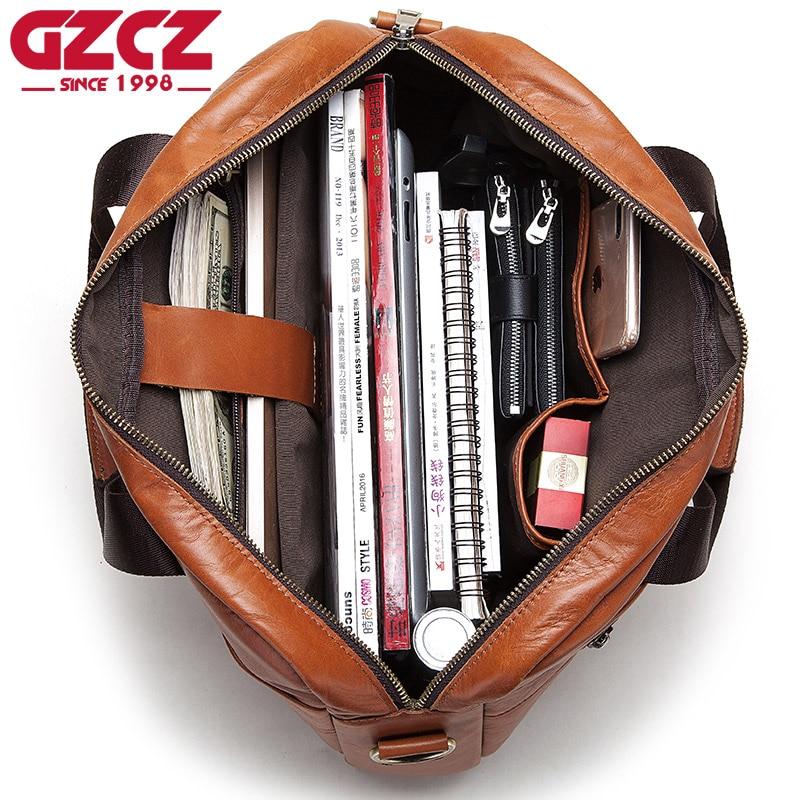 GZCZ Genuine Leather Handbag Briefcase Men Travel For Laptop Bag Crossbody Sling Messenger Handles Tote Shoulder Business Bags
