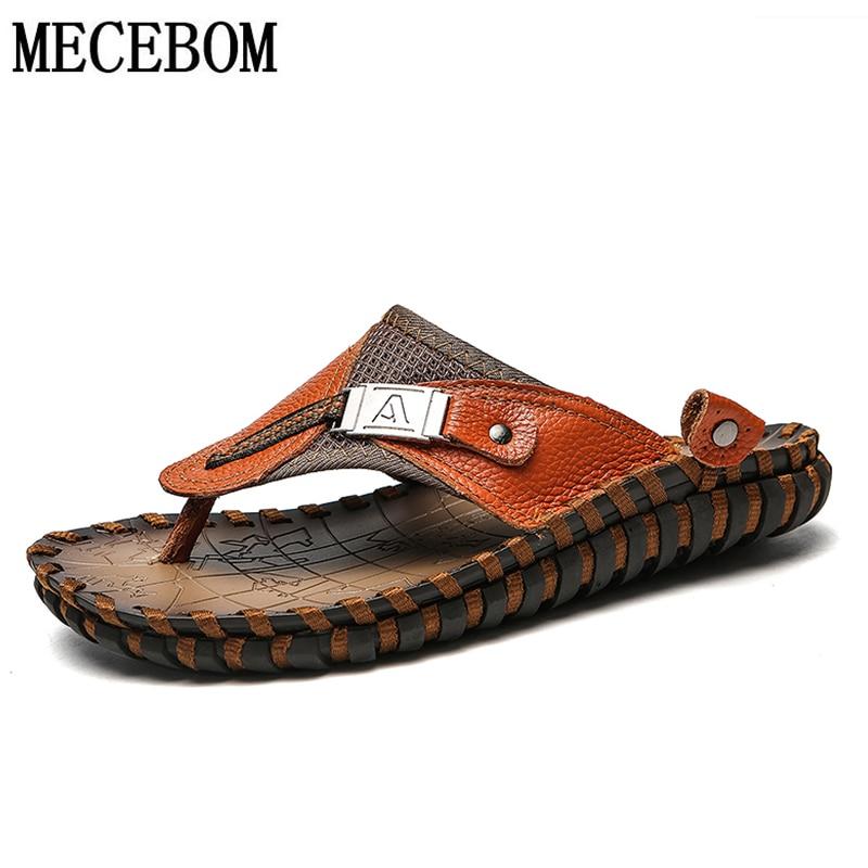 Cheap 2019 Summer Men Slippers Big Size 38-48 Outdoor Genuine Leather Beach Shoes Fashion Slip-on Slippers Non-slip Summer Flip Flops