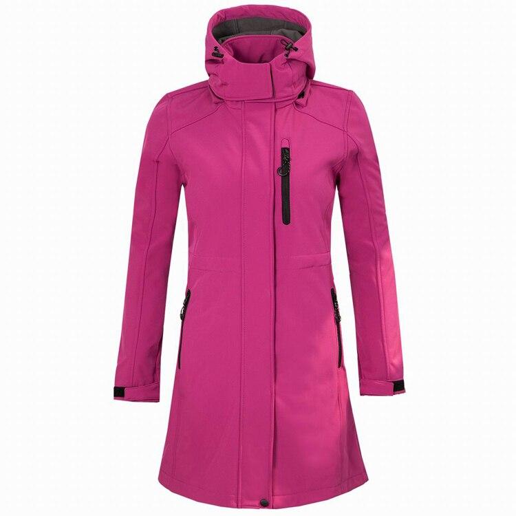 jaqueta de la longa jaqueta de la softshell feminino blusao ao ar livre caminhadas acampamento escalada