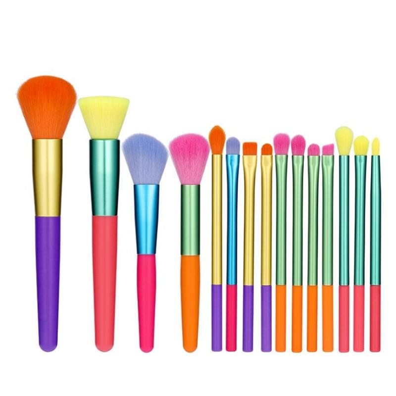 15pcs Makeup Brushes Set Powder Foundation Eyeshadow Concealer Blusher Brows Cosmetic Brush Colourful Makeup Brushes Kit