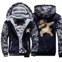 Men Thick Winter Jacket Camo Fleece Warm Mens Jack