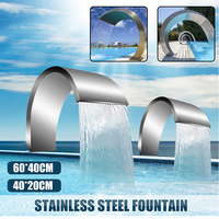 40x20cm/60x30cm Stainless Steel Pool Water Fountain Pond Garden Swimming Pool Waterfall Feature Decorative Hardware Faucet