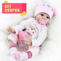 55 см Reborn Baby Dolls милый мягкий ручной реалистичный новорожденный силиконовый винил Детские Куклы Игрушки для девочки, мальчики, дети, день рож...