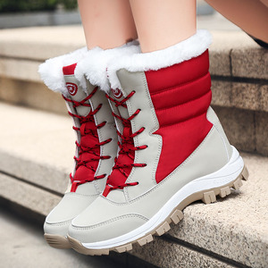Image 4 - WDZKN 2019 Winter Warm Shoes Women Snow Boots Thick Plush Mid Calf Flat Boots Female Botas Mujer Waterproof Winter Women Boots