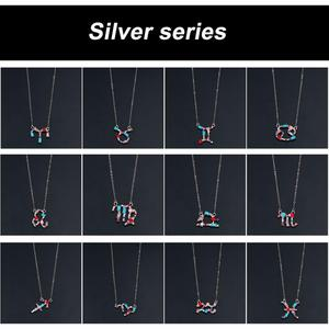 Fashion Simple Charm 12 Constellation Pendant Necklace Star Zodiac Sign Dangle Necklace For Best Friends Birthday Gifts