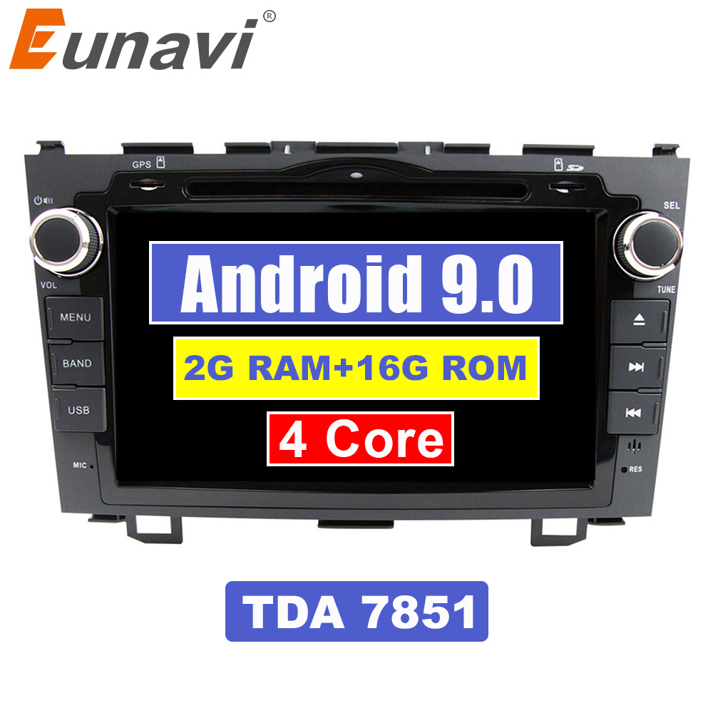 Eunavi 8 inch Android 9.0 2 Din Car DVD Player Radio <font><b>GPS</b></font> For <font><b>Honda</b></font> <font><b>CRV</b></font> Cr-v 2006 <font><b>2007</b></font> 2008 2009 2010 2011 Head Unit Stereo WIFI image