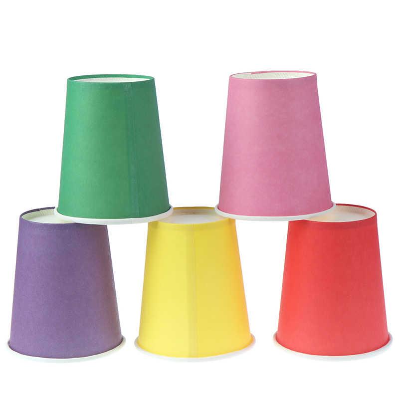 10pcs สีทิ้งถ้วยกระดาษทำด้วยมือถ้วยอนุบาล DIY ทำด้วยมือวัสดุครัวเรือนถ้วยกาแฟห้องครัวอุปกรณ์เสริม